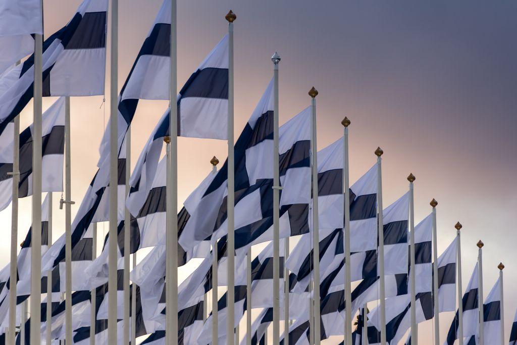 Rivi lippusalkoja, joissa Suomen lippu.